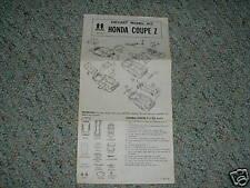 Tomy 1/38 Honda Coupe Z Instructions 1975 kit