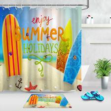 Waterproof Polyester Summer Holiday Beach Surfboard Shower Curtain Hook Bath Mat