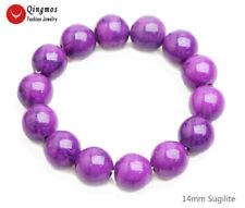 Trendy 14mm Round Purple Sugilite Stone Bracelet  for Women Jewelry 7.5'' bra473