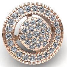 Natural 0.5carat Round Cut Diamond Ladies Circle Cluster Halo Pendant 14K Gold