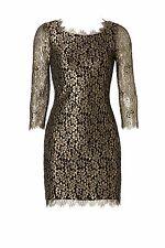 NEW DVF Diane von Furstenberg ZARITA Gold Metallic Lace Black Dress 4 6 8