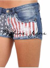 USA FLAG Machine Jeans Cheeky Mini Shorts Frayed Fringed High & Low rise