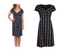 King Louie Kleid Gina Dress Flux Dunkel-blau Marine Blumen - 01746