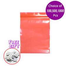 4x6in Flat Red Poly Plastic Mylar Ziplock Bag w/Silica Gel Desiccant N01