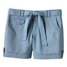 NWT $36-Womens Gloria Vanderbilt Blue Belted Casual Twill Shorts-size 8 & 16
