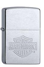Zippo Benzin Sturmfeuerzeug Chrom gebürstet < Harley-D. ® Bar & Shield > 1100015