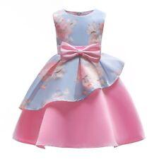Girls Ruffled Flowers Print Sleeveless Bow-knot Dress Birthday Wedding Dress O48