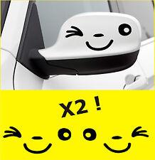x2 Stickers Vinilo Choche - SONRISA Y GUIÑO - Vinyl - Car Wing Mirror -Aufkleber