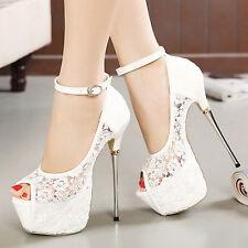 Women Open Toe Platform Party White Shoes Bridal Wedding High Heels Sandals J02