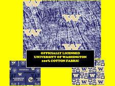 UNIVERSITY OF WASHINGTON COTTON FABRIC-WASHINGTON HUSKIES COTTON-ALL PATTERNS