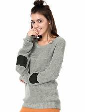 Allegra K Women Drop Shoulder Elbow Cat Patch Loose Sweater