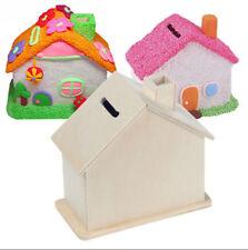 Piggy Bank Chalet Coin House Save money Base Art Decor Children Baby WoodenToyYA