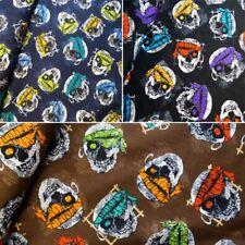 100% Cotton Fabric Pirate Skulls Bandannas Halloween 140cm Wide