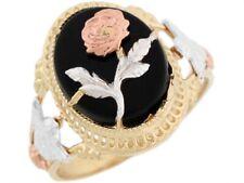 10k or 14k Tri Color Gold Oval Onyx Angels on The Sides Rose Flower Ring