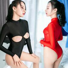 Women Sexy Zipper Open Cup Thong Leotard Bodysuit Jumpsuit Stretch Lingerie Tops