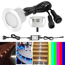 1-50er Set 12V LED Garten Boden Einbaustrahler Treppenbeleuchtung Außen Lampe