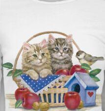 Fall Cat Shirt, Kittens in Apple Basket, Small - 5X, Womans Cat T-Shirt, autumn