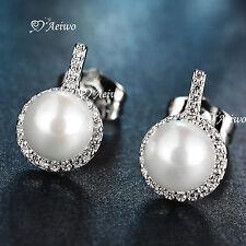 18K YELLOW WHITE GOLD GF CRYSTAL LADIES WOMEN IMITATION PEARL EARRINGS CUTE