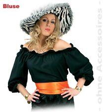 Bluse Sarina schwarz Kostüm 38-44 Rüschenbluse Karneval Fasching 1211490G13