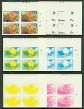 Antigua 1976 Tree Flower 15c progressive proof blocks-1