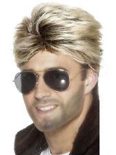 George Michael WHAM 80s Blonde Street Wig Mens 1980 Fancy Dress Optional Add Ons