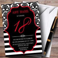 Vintage Damasco Rojo 18th Personalizado Invitaciones Fiesta De Cumpleaños