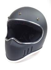 Retro Cross-Enduro-Helm Endurohelm Casco Helmet Casque matt-schwarz DOT geprüft