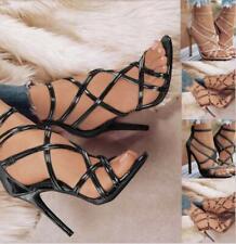 Sexy Women Open-Toe Zipper Stilettos Shoes Ladies Summer Cross Strappy Sandals