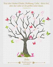 Fingerabdruck Leinwand Konfirmation Baum Schmetterling inkl. Stempelkissen