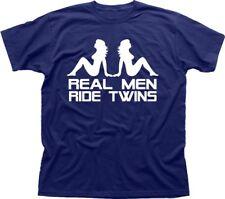 V-twin moto davidson triumph suzuki harley navy t-shirt imprimé FN9850