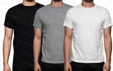 Mens Plain Cotton Short Sleeve T-Shirt Tee Shirt Crew Neck Adults Casual Top