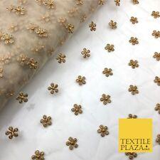 Light Stone Small Gold Pearl Flower Threadwork Antique Fancy Net Fabric JB295