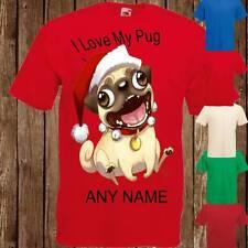 Hilarious Christmas Pug I Love My Pug Any Name Personalised Mens Womens T Shirt