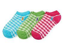 NWT Polo Ralph Lauren Little Girl's 3-Pack No-Show Low-Cut Gingham Socks