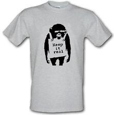 BANKSY KEEP IT REAL Stencil Art Monkey Graffiti Heavy Cotton t shirt Sizes S-XXL