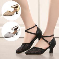 Women Latin Dance Shoes Ladies Mesh Ballroom Tango Cha Cha Shoes Low-heeled