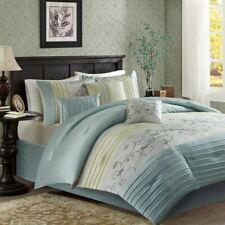 Posh 7pc Aqua & Green Embroidered Floral Comforter Set AND Decorative Pillows