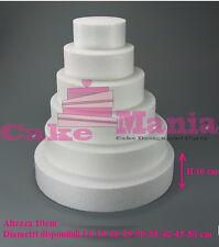 FORME IN POLISTIROLO BASE TONDA VARI DIAMETRI ALTEZZA 10cm PER TORTE Cake Design