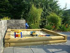 Sandkasten nach Maß cm-Genau nach Wunsch Rundholz Ø12cm Holz große Sandkiste XXL