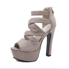 Sandals Heel Plateau 14 cm Grey Leather Synthetic Elegant 9209