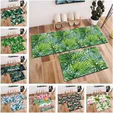 Watercolor Tropical Green Leaves Flamingo Area Rugs Bedroom Kitchen Floor Mat