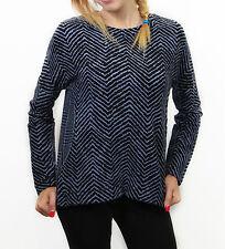 Maglia da donna blu Deha manica lunga girocollo casual moda cotone zip quadretti