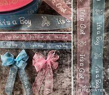 3 metres ITS A BOY / GIRL Ribbon  organza Baby Shower gift wrap or bows