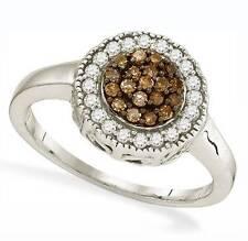 Sterling Silver Chocolate Brown & White Diamond Ring .925 Round Diamond Cluster