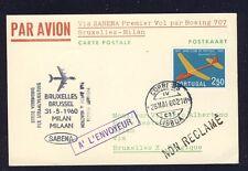 45298) Sabena FF bruselas-Milano Italia 31.5.60, a partir de Portugal, Model Glider