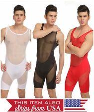 Men's Bodysuit One Piece Jumpsuit Underwear Mesh GUY/GAY Super Sexy & HOT M L XL