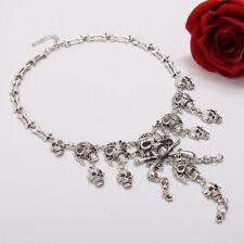 Fashion Pirate Skull Tassel Multi-level Charm Necklace Collar Bib For Women