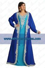 Blue DUBAI ABAYA KAFTAN Hijab Muslim Islam Wedding Dress *USA SELLER* MD0538