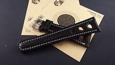 Bracelet montre chronosport en cuir de veau noir avec surpiqûre blanche