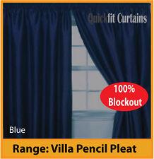 VILLA TEXTURED SHANTUNG 100% BLOCKOUT PENCIL PLEAT CURTAINS: Navy Blue